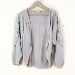 Miss Me // Lace & Beads Slouchy Cardigan Hoodie